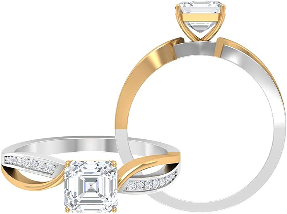 1.08 CT D-VSSI Courier shipping free Solitaire Choice Moissanite Cu Asscher Rings Engagement