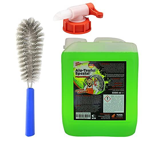 Tuga Chemie Alu-Teufel GRÜN 5 Liter Felgenreiniger Säurefrei Set mit Auslaufhahn Dosierer und MC Felgenbürste