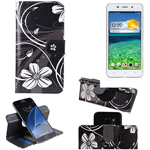 K-S-Trade Schutzhülle Für Cubot X9 Hülle 360° Wallet Hülle Schutz Hülle ''Flowers'' Smartphone Flip Cover Flipstyle Tasche Handyhülle Schwarz-weiß 1x