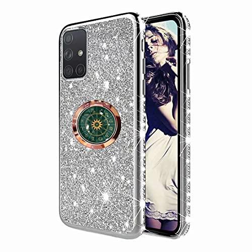 TYWZ Astrolabio Cover per Samsung Galaxy A51,Glitter Diamante Placcatura Telaio Brillante Silicone Custodia con 360 Grado Rotazione Verde Bussola Anello Cavalletto