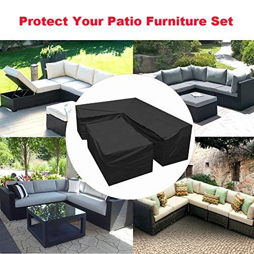 L-förmigen abdeckung lounge sofa - lounge abdeckung l-form mit Spannschnüren unten,210D abdeckplane für gartenmöbel L-Form schutzhüllen für gartenmöbel (L-Form 300x300x90 cm + Rechteck 155x95x68 cm) - 4