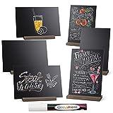 ONUPGO Chalkboard Signs with Wood Base Stands Vintage Wooden Tabletop Decorative Mini Chalkboard Sign, Message Chalkboard Sign for Party, Restaurant, Wedding, Set of 6