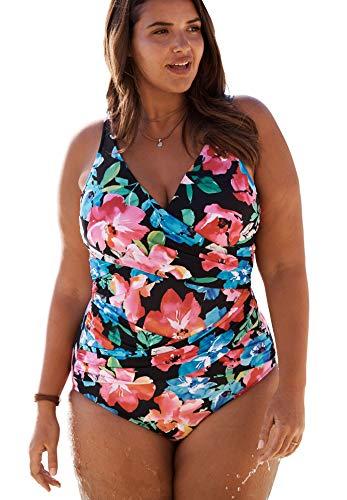 Swimsuits For All Trimshaper Women's Plus Size Crisscross One-Piece - 20 W, Multi Garden