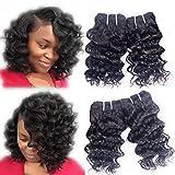 Brazilian Deep Curly Human Hair Weave 4 Bundles Loose Deep Wave Remy Hair Extensions Deepwave Real 100% Unprocessed Virgin Short Wavy Hair 8A Grade Natural Black Color 8 Inch 50g/pc Total 200g