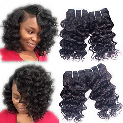 Brazilian Deep Wave 4 Bundles Human Hair Weave Deepwave Brazilian Deep Curly Bundle Remy Hair Virgin Unprocessed Natural Black Color 12 Inch 50g/Pc