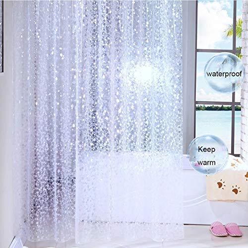 Meiosuns Badvorhang Kopfsteinpflaster Badvorhänge Peva Waterproof Clear Bath Vorhänge Innenfutter Mehltau resistent Antibakteriell mit rostfreien Ösen und Vorhanghaken (300*200cm, Kopfsteinpflaster)