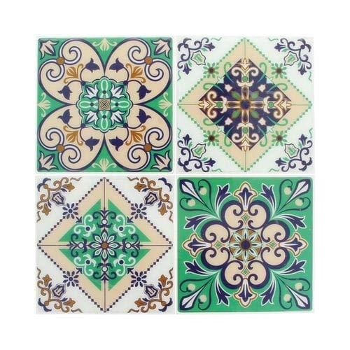 Artemio 22002022 Set de 4 Stickers Mosaïque, Résine Époxy, Vert, 26,5 x 0,2 x 31 cm