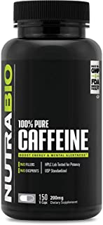 NutraBio 100% Pure Caffeine Anhydrous (150 Capsules, 200mg)