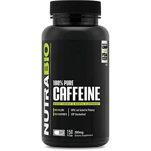 NutraBio 100% Pure Caffeine Anhydrous (150 Capsules, 200mg)