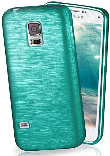 MoEx® Stylische Brushed Aluminium-Optik & starker Grip | Ultra dünne Silikonhülle passend für Samsung Galaxy S5 Mini in Türkis