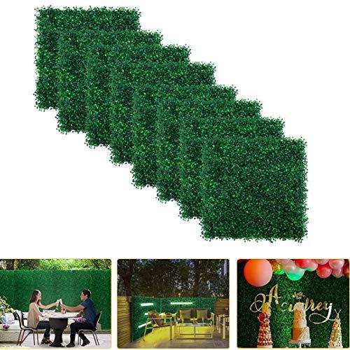 FYHEART Buchsbaum-Pflanze, künstliche Hecke für 31 m² pro Buchsbaum-Hecke – Verwendung für UV-Schutz drinnen und draußen, Zaun-Sichtschutz, Graswand, Grüner Hintergrund 8pcs dunkelgrün