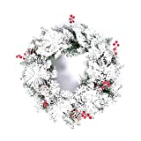 ZHongWei - Corona de Navidad Corona navideña - Decoración navideña Planta de simulación Copo de Nieve Corona navideña 50cm Flocking Wreath White Arboles de Navidad
