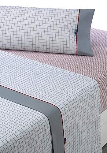 SABANALIA - Juego de sábanas Estampadas Checks (Disponible en Varios tamaños y Colores), Cama 90, Gris-Rojo