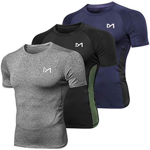 MEETYOO Kompressionsshirt Herren, Laufshirt Kurzarm Funktionsshirt Atmungsaktiv Sportshirt Männer T-Shirt für Running Jogging Fitness Gym (Schwarz+Blau+Grau, L)