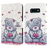 Ailisi Samsung Galaxy S10e Hülle Teddy Bear 3D Muster Handyhülle Schutzhülle PU Leder Wallet Hülle Flip Hülle Klapphüllen Brieftasche Ledertasche Tasche Etui im Bookstyle