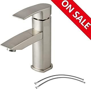 Hotis Commercial Single Handle Stainless Steel Vanity Bathroom Faucet, Vessel Sink Faucet Brushed Nickel Finish
