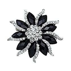 Blossom Flower Rhinestone Brooch Pin Black Crystal