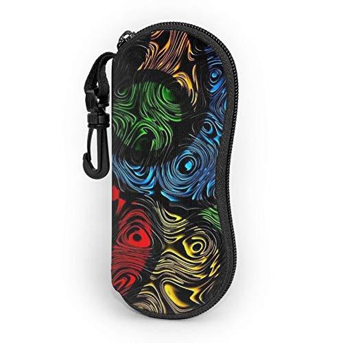 Funda de gafas con cremallera de color abstracto Vortex patrón anti-arañazos portátil viaje suave gafas caso para hombres y mujeres
