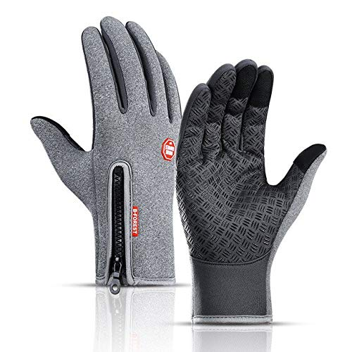 Guantes de Invierno cálidos para Pesca con Pantalla táctil para Hombre, Guantes Impermeables para esquí para Mujer, Guantes Negros de Moda Antideslizantes a Prueba de Viento-Gray-1-L