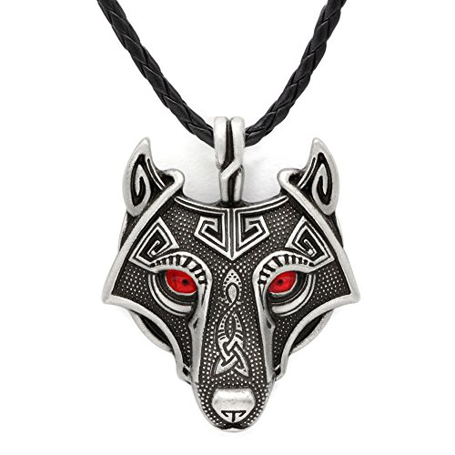 GuoShuang Norse Vikings Pendant Necklace Norse Wolf Head Necklace Original Animal Jewelry Wolf Head hange with Valknut Gift Bag