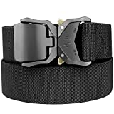 Bluecton Men Battle Belt Stretch Military Tactical Nylon Rigger Quick Release for Sport Work Plus Size 43''