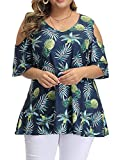 Allegrace Women's Plus Size Floral Printing Cold Shoulder Tunic Top Short Sleeve V Neck T Shirts P46 Pineapple Dark Blue 3X