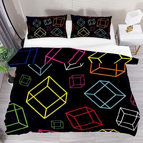 GanLongDian Duvet Cover Set Bedding Quilt Cover for Men Women,Bedding Set Gift,Comforter Cover and Pillowcase,Single Full Double King Size Square Black Pattern