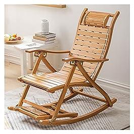 Confortable Relax Rocking Chair avec Accoudoir et Massage Repose-Pieds Inclinables Réglables Adultes Déjeuner Pliant…
