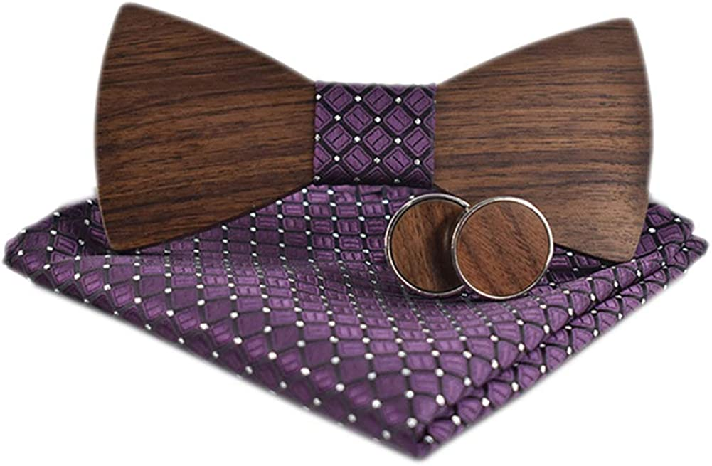 Novelty Wood Bow Tie Handmade Groom Groomsman Pre-tie Bowtie Pocket Square and Men's Cufflinks Set with Gift Box