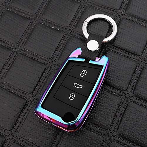 SJIUH Schlüsselhülle,Zinklegierung Silica Auto Schlüsseletui für Volkswagen Passat Golf Jetta Bora Polo Sagitar Tiguan MK2 DE CC B7 B8 für Skoda Fabia A7 Auto, B, Regenbogen