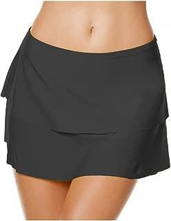 Women Swim Skirt Tummy Control A-Line Skirted Bikini Bottom Solid Color Swimsuit