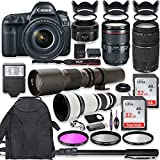 Canon EOS 5D Mark IV DSLR Camera w/ 24-105mm USM Lens Bundle + Canon EF 75-300mm III Lens, Canon 50mm f/1.8, 500mm Lens & 650-1300mm Lens + Backpack + 64GB Memory + Monopod + Professional Bundle