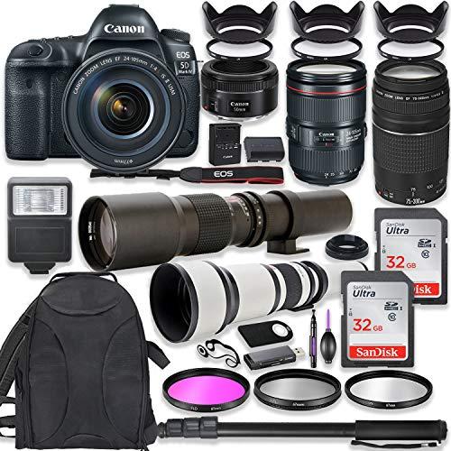 Canon EOS 5D Mark IV DSLR Camera w/ 24-105mm USM Lens Bundle + Canon EF 75-300mm III Lens, Canon 50mm f/1.8, 500mm Lens & 650-1300mm Lens + Backpack + 64GB Memory + Monopod + Professional Bundle