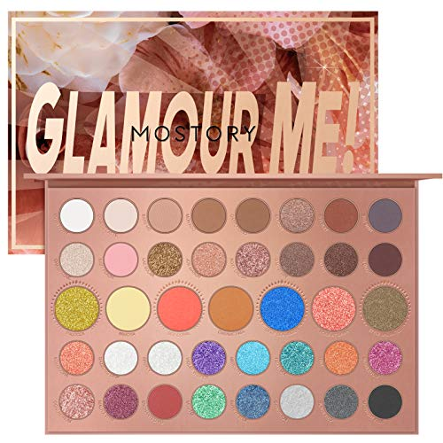 MOSTORY Glamour Me Eyeshadow Palette  39 Shades Makeup Palette Highly Pigmented Matte Eye Shadow Pallet Nude Shimmer Matallic Easy to Blend Sweatproof Waterproof Makeup Set Glamour Me