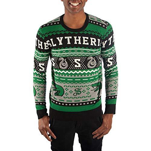 Bioworld Slytherin Sweater Harry Potter Sweater Slytherin Apparel Hogwarts Sweater-Large Green