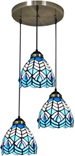 Simple 3-Light Hallway Disc Ceiling Pendant Fixture in Tiffany Style Stained Glass Dining Room Pendant Lamp Downlight,110V-240V,E27