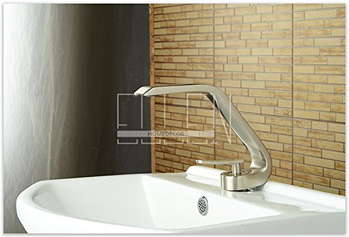 Galvanik - Grifo de lavabo retro de níquel cepillado, grifo de lavabo de latón con tapa montada, grifo de lavabo único, agua fría y caliente, cromado