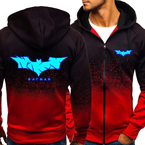 rgbh Uomo Felpa con Cappuccio con Cerniera Giacche - Bat-Man Maglione Casual Addensis Cardigan Giacca Manica Lunga Sweatshirt Red-Large