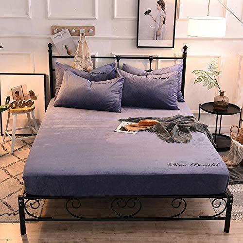 XGguo Protector de colchón de bambú Funda de colchón y Ajustable Sábana de Cama de Terciopelo cálido otoño e Invierno Engrosamiento-Azul y Violeta_150x200cm