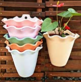 WBFN Maceta de Colgante Florero con Soporte Extraíble para Balcón Jardín Patio Cubo Macetero Plantador con Orificio de Drenaje (6 macetas Surtido de 6 Colores) (Color : A)