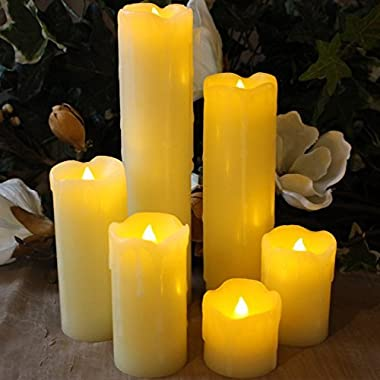 LED Lytes Timer LED Candles - Slim Set of 6, 2  Wide and 2 - 9  Tall, Ivory dripping Wax and Flickering Amber Yellow Flame Battery Operated Electric Candle