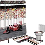 Set di tende per doccia Accessori il bagno tappeti Macchine Tappetino da bagno con tappetino per WC Sport motoristici Red Race Car Vista laterale su una pista leader del pacchetto con Motion Blur,grig