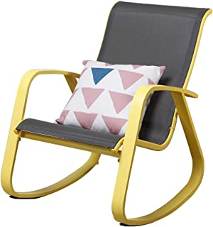 Grand Patio Modern Sling Rocking Chair, Glider with Yellow Aluminum Frame, Inside Furniture/Outdoor/Porch