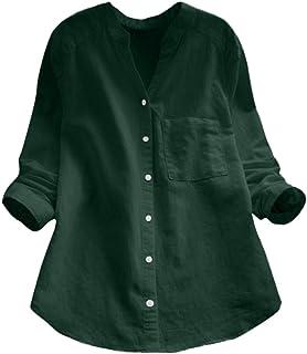 TIFIY Camicia per Le Donne, Lino di Cotone Casual a Maniche Lunghe Camicia Camicetta abbottonata Top