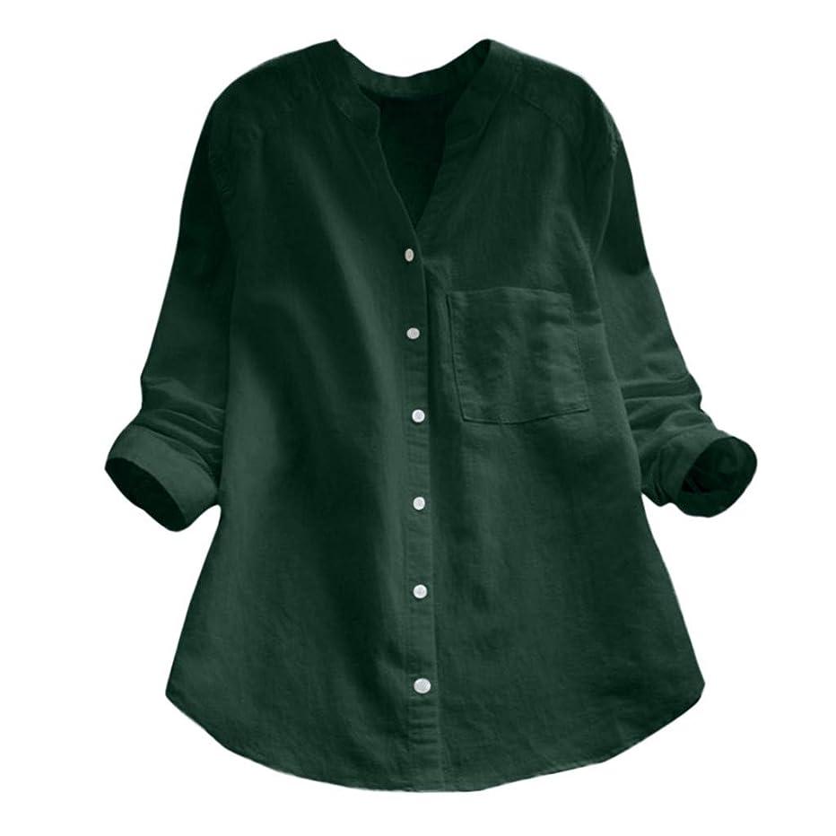 より平らな道徳教育性差別カジュアル Tシャツ Rexzo Vネック 長袖 トップス カジュアル ポケット付き 綿麻 シャツ 純色 ボタンダウン カットソー ファッション シンプル ブラウス さっぱりした 夏服 おしゃれ 洋服 着心地良い 通勤 リゾート ギフト
