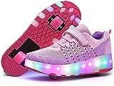 Zapatos De Patinaje sobre Ruedas Zapatos De Ruedas para Niños Y Niñas Zapatos De Patines para Niños Zapatos De Ruedas con Luz LED para Niños para Niños para Niños Zapatos con Ruedas,Pink-4.5 UK