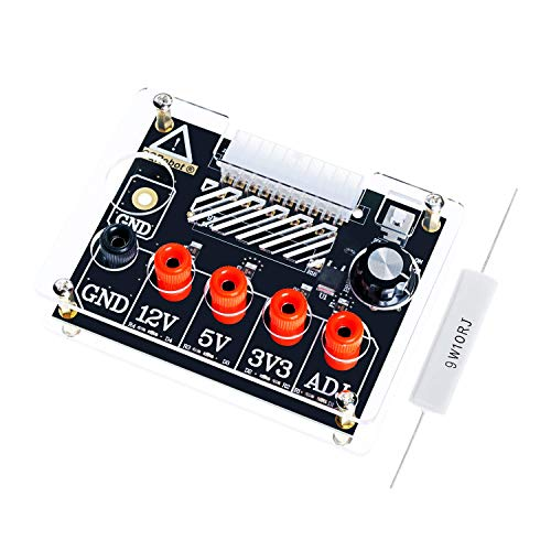 ATX Power Supply Breakout Board and Acrylic Case Kit. with ADJ Adjustable Voltage Knob, Supports 3.3V, 5V, 12V and 1.5V-9.0V (ADJ) Output Voltage, 2A Maximum Output, Reset Protection.