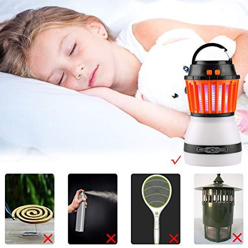 Lampe Anti Moustique Lovebay Lampe de Tueur de Moustique de Portable 2 dans 1 USB Rechargeable,3 Modes d'Eclairage et LED Lampe de Nuit,Muet, Zapper Mosquito Imperméable IP67