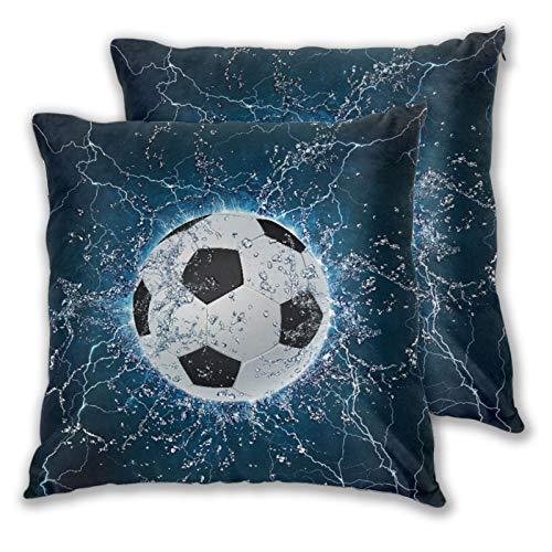 CONICIXI 2 Pack Funda de Almohada Balón de fútbol sobre el Agua. Gráficos 2D Lino Suave Cuadrado Sofá Cama Decoración Hogar para Cojín 60cm x 60cm