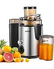 Centrifugeuse Fruits et Légumes Aicok Centrifugeuse Extracteur de Jus, 65MM Large Goulot Extracteur de Jus avec 2 Vitesses et Fonction Pulse, Système Anti-goutte, Pieds Antidérapants, Sans BPA